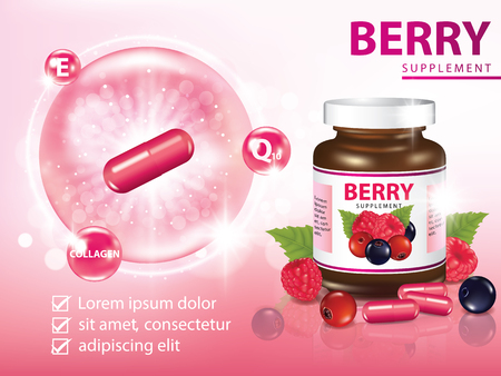 Berries dietary supplement with capsule banner vector illustration