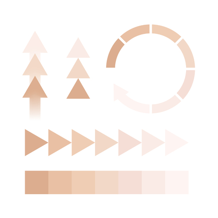 Dark to light chart skin tones in different vector illustration Ilustracje wektorowe