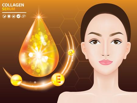 Collagen skin care serum vector illustration