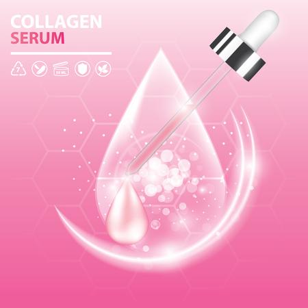 Collagen serum, droplet vector illustration design.