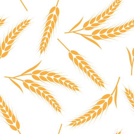 Rice, wheat, barley and oat seamless pattern background vector illustration