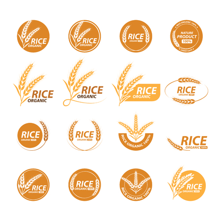 Collection of rice graphic design with image and text Illustration. Фото со стока - 98785288