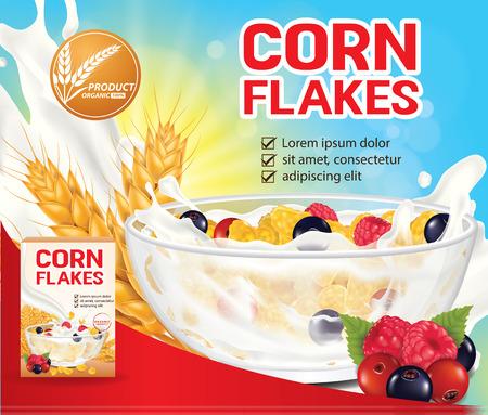 Flocons de maïs Berry, illustration vectorielle de produit céréalier bannière