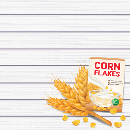 Corn flakes , cereal product on wood top view vector illustration