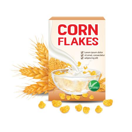 Płatki kukurydziane, ilustracja wektorowa produktu zbożowego Ilustracje wektorowe
