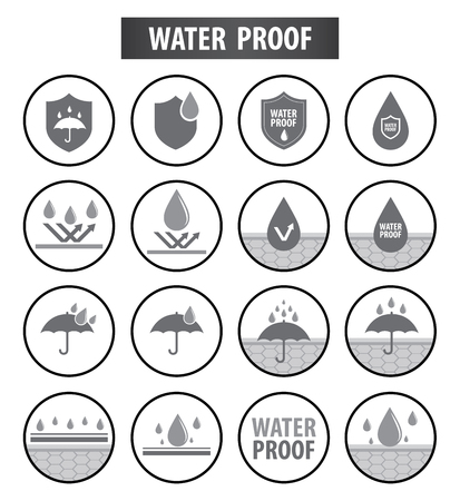 Waterproof icons vector illustration