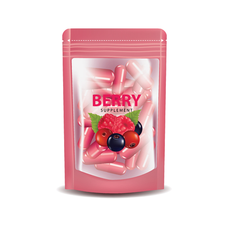 Berries dietary supplement foil packaging vector illustration. 일러스트