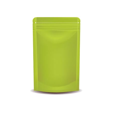 Green foil packaging mock up vector illustration