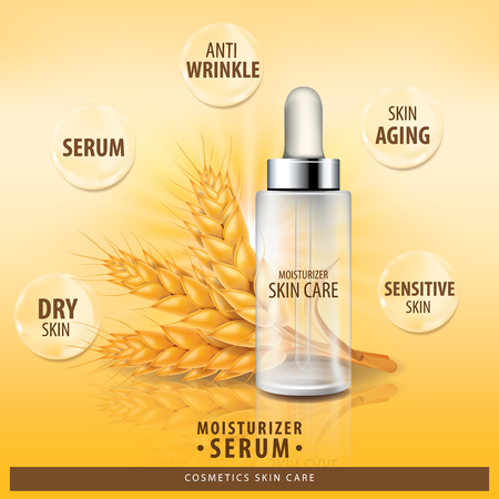 Rice , wheat , barley and oat collagen vitamin skin care cream , serum banner vector illustration