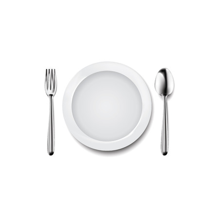 Dish and flatware top view vector illustration  イラスト・ベクター素材
