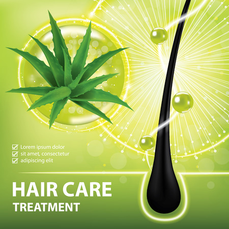 Aloe vera for hair care , prevent split ends banner  illustration
