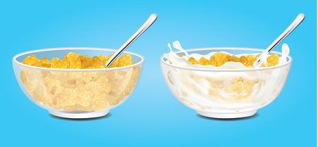 Corn flakes, cereal and milk splash in bowl vector illustration