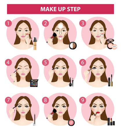 how to make up steps vector illustration  イラスト・ベクター素材