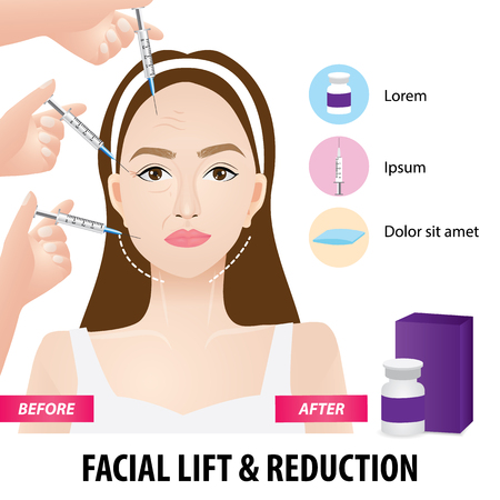 Lifting and wrinkle injection surgery vector illustration