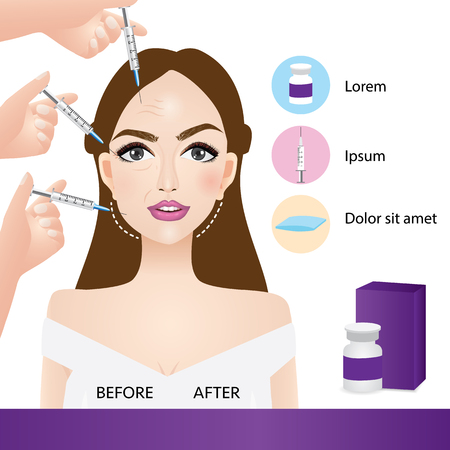 lifting and wrinkle injection surgery vector illustration Stock Illustratie