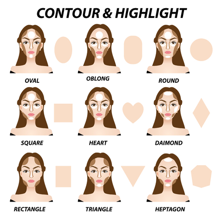 how to contour and highlight for face shapes vector illustration  イラスト・ベクター素材