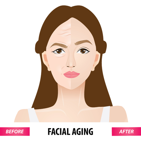 Facial aging before and after vector illustration Illustration