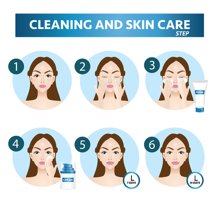 Cleaning and care face step vector illustration Vektorové ilustrace