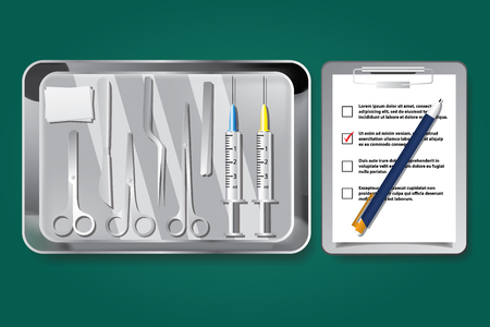 Surgery instruments and tools vector illustration Çizim