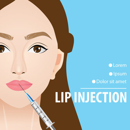 Lip injection before and after vector illustration