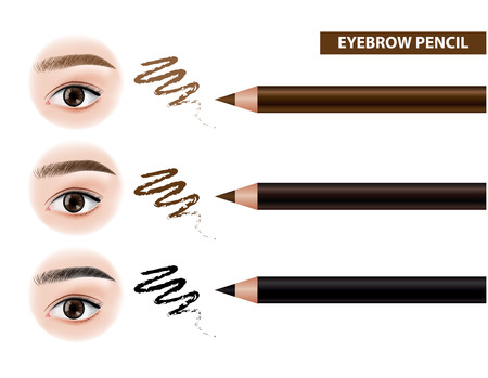 Eyebrow pencil before and after vector illustration