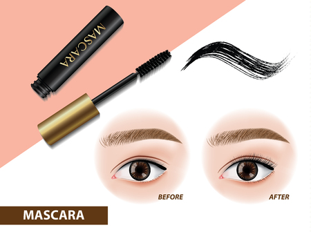 Mascara before and after vector illustration Çizim