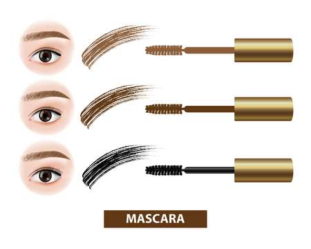 Mascara before and after vector illustration  イラスト・ベクター素材