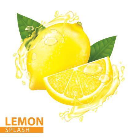 Lemon splash vector illustration Vettoriali
