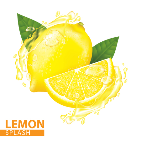 Lemon splash vector illustration Иллюстрация