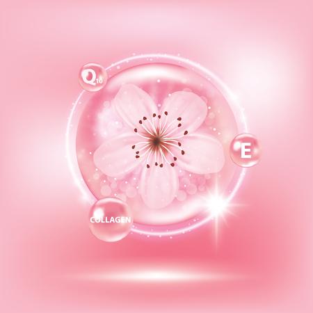 Sukura, cherry blossom collagen vitamin skin care cream, serum banner vector illustration.