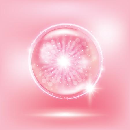Disegno di illustrazione vettoriale di bolla di collagene rosa. Vettoriali