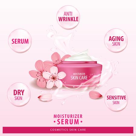 Sukura, cherry blossom collagen vitamin skin care cream, serum banner vector illustration