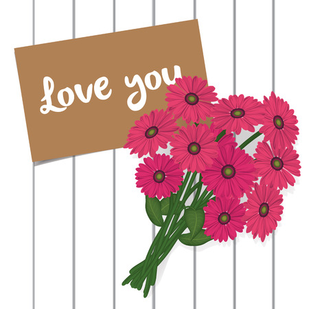 pink flower note on wood background vector illustration