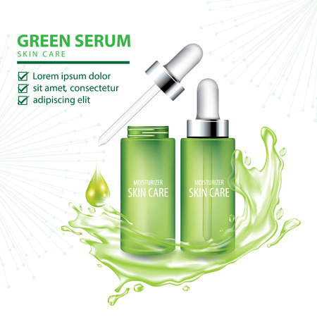 Green collagen vitamin skin care cream , serum banner vector illustration Illustration