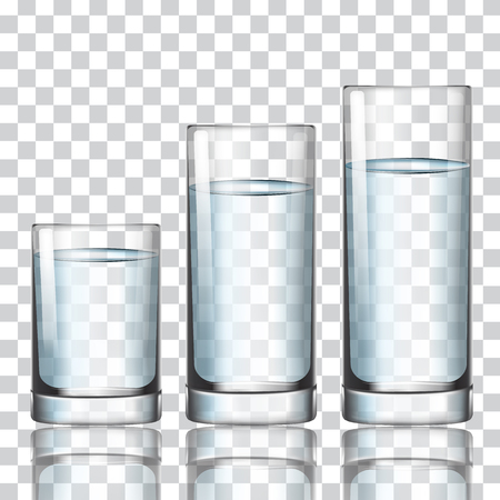 Set of glass with water on a transparent background vector illustration