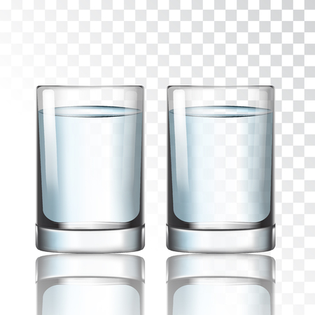 Verre court avec de l'eau sur une illustration vectorielle de fond transparent Vecteurs