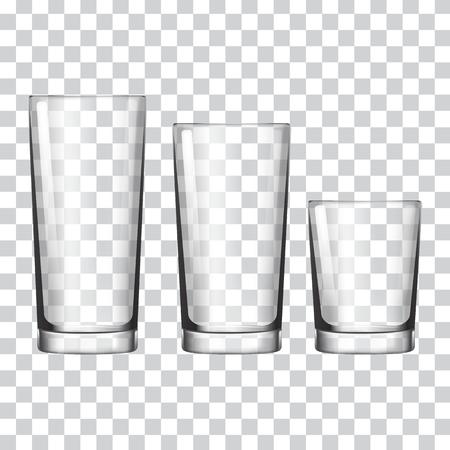 Satz Glas auf einer transparenten Hintergrundvektorillustration