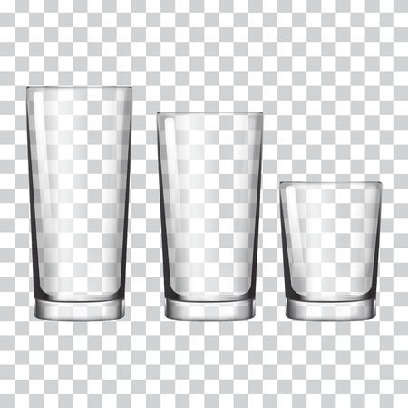 Set of glass on a transparent background vector illustration