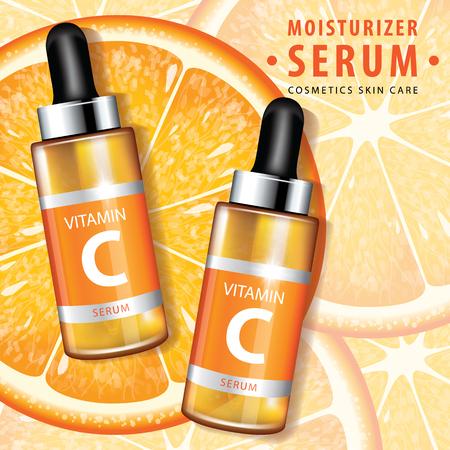 Orange collagen vitamin skin care serum banner vector illustration