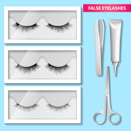 False eyelashes box and glue vector and illustration