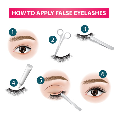 How to apply false  eyelashes vector illustration