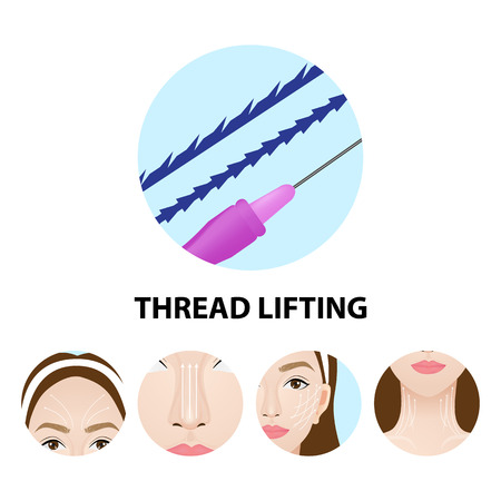 Thread lifting vector illustration