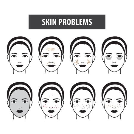 Probleme Haut Symbol Frau Vektor-Illustration Vektorgrafik