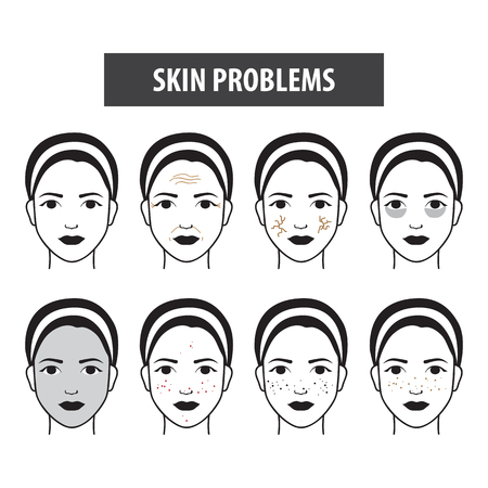 Problems skin icon woman vector illustration Ilustrace