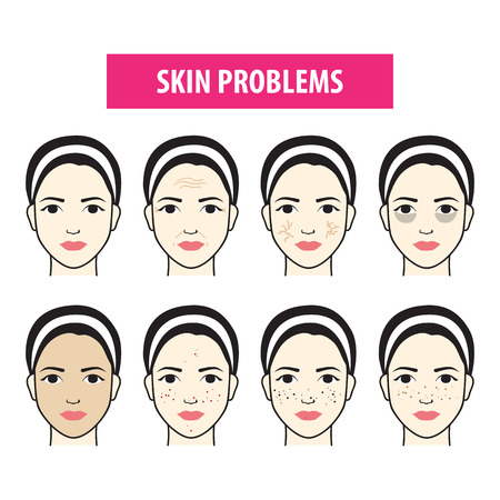 Problems skin icon woman vector illustration