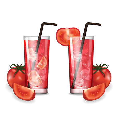 Tomato juice with glass vector illustration