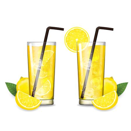 Lemon juice with glass vector illustration Stok Fotoğraf - 121628792