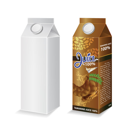 Tamarind juice box package vector illustration