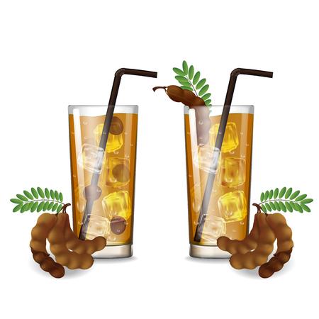 Tamarind juice with glass vector illustration Çizim