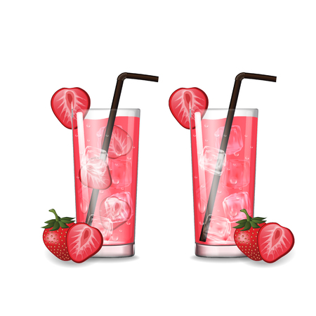 Strawberry juice with glass vector illustration